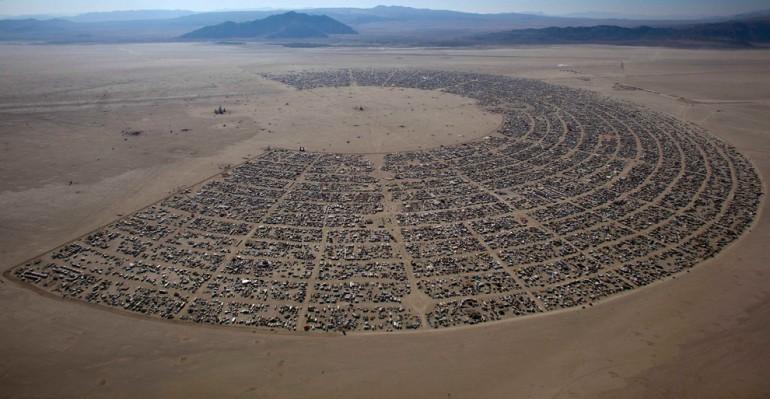 Aerial view of Burning Man!